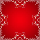 Christmas frame with snowflakes on the edge Stock Photography