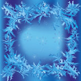 Christmas frame with snowflakes and frosty pattern Stock Image
