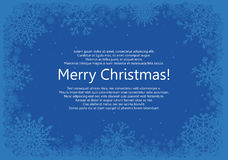 Christmas frame with snowflakes over blue background Royalty Free Stock Photo