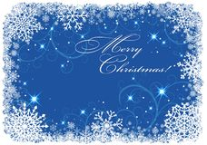 Christmas frame with snowflakes over blue background Stock Photo