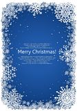Christmas frame with snowflakes over blue background Stock Photography
