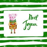 Christmas frame with snowflakes pig on green striped background. Christmas frame with snowflakes pig on green striped background Stock Images