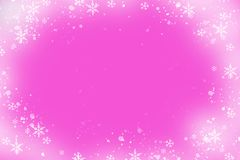 Christmas frame with snowflakes. On a pink background. Festive decor stock illustration