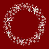 Christmas frame with snowflakes on a red background. With space for text Royalty Free Illustration