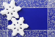 Christmas Frame of Snowflakes and Ribbon. On Spotted Background Royalty Free Stock Photos