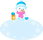 Christmas frame and snowman Stock Photography