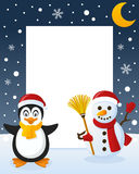 Christmas Frame - Snowman & Penguin Stock Photo