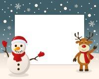 Christmas Frame - Snowman & Reindeer Stock Image