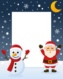Christmas Frame - Snowman & Santa Claus Stock Photo