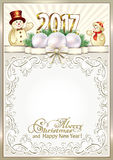 Christmas frame 2017.   2017 Christmas frame with snowmen Royalty Free Stock Photo