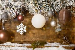 Christmas Frame from Snowy Xmas tree branches and Wooden Calendar. Christmas Frame from Snowy Xmas tree branches, Wooden Block Calendar with 25 December Date and stock photos