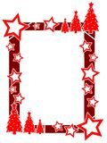 Christmas frame with stars and pines isolated Royalty Free Stock Photography