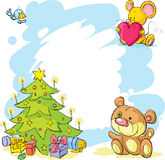 Christmas frame with teddy bear, cute mouse and bird Royalty Free Stock Image