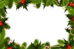 Christmas Frame. Template with fir mistletoe and decoration vector illustration