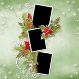 Christmas frame for three photos Royalty Free Stock Photography