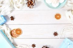 Christmas frame top view background.Winter flat lay composition. stock photos