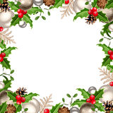 Christmas frame. Vector illustration. Vector Christmas decorative frame with silver, white, green and red balls, holly, mistletoe, fir branches and cones on a Royalty Free Stock Images