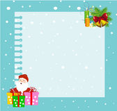 Christmas Frame. Vector illustration of christmas ornaments on a right up corner and santa with gifts on a left down corner on a card on a blue background Stock Images