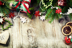 Christmas frame with vintage decorations Royalty Free Stock Images
