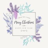 Christmas frame in vintage style. Royalty Free Stock Image