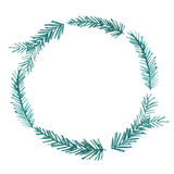 Christmas frame, watercolor wreath. Hand painted Royalty Free Stock Photos