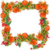 Christmas frame  on white background. watercolor winter Christmas wreath Stock Photography