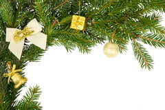 Christmas frame with white bow and yellow decorations Royalty Free Stock Photography