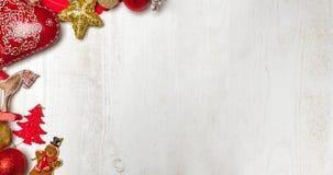 Christmas frame on white wood background stock photo