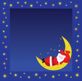 Christmas frame wiht sleeping Santa Royalty Free Stock Photo
