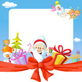 Christmas frame wit Santa Claus and gifts. Funny vector background illustration Stock Photos