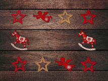 Christmas frame on a wooden background Stock Image