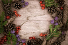 Christmas frame on wooden background Royalty Free Stock Photo