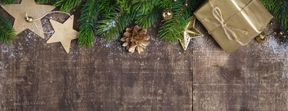 Christmas frame, wooden background stock images