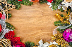 Christmas frame. Christmas wooden frame for congratulations royalty free stock photo