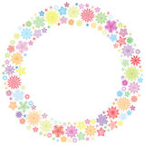 Christmas frame or wreath of colorful snowflakes Stock Image