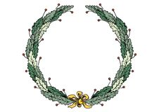 Christmas frame wreath with ribbon and bow green leaves vector illustration