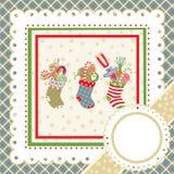 Christmas frameChristmas frame. Christmas frame with stocking. Vector illustration Stock Photo