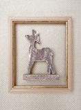Christmas framed picture with reindeer on wool Stock Photos