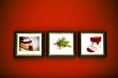 Christmas Frames On Red Wall Stock Images