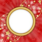 Christmas frames over snowflakes background. Christmas frames over golden snowflakes background on red Stock Image