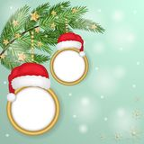 Christmas frames over snowflakes background. Over blue background Royalty Free Stock Image