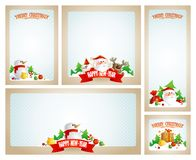 Christmas frames set with Santa, deer and snowman stock illustration