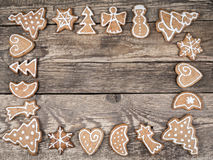 Christmas framework with gingerbread cookies Stock Image