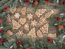 Christmas framework with gingerbread cookies Stock Photos