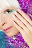 Christmas French manicure and makeup. royalty free stock photography
