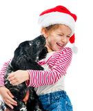 Christmas friends. Little girl with cute puppy in a Santa hat Royalty Free Stock Photo