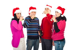 Christmas  friends drinking champagne Stock Photos