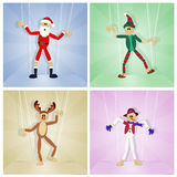Christmas friends puppets Royalty Free Stock Photos