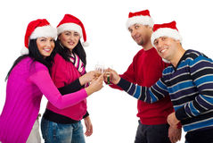 Christmas friends toasting with champagne stock photo