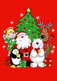 Christmas friends. Vector illustration of Santa and his friends Stock Image